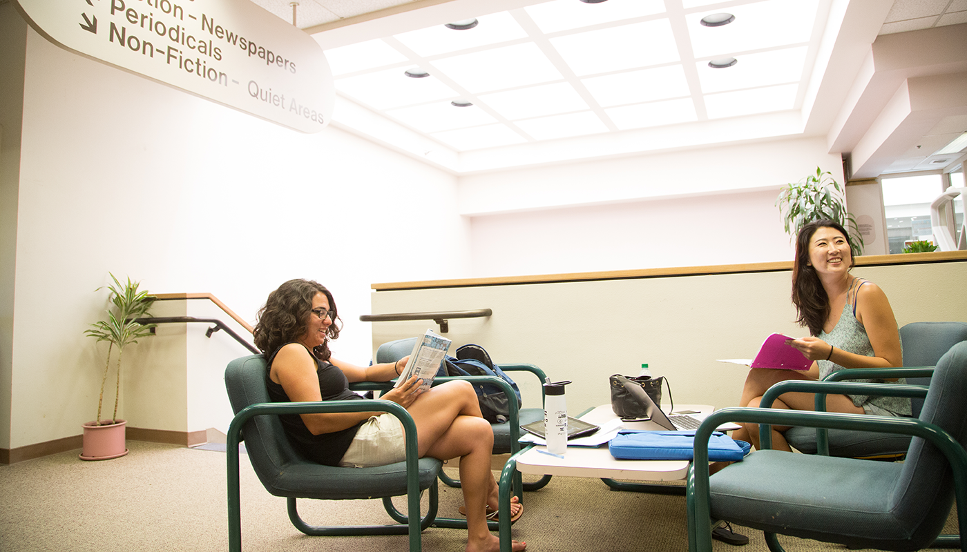 Students studying at the Luria Library at SBCC.
