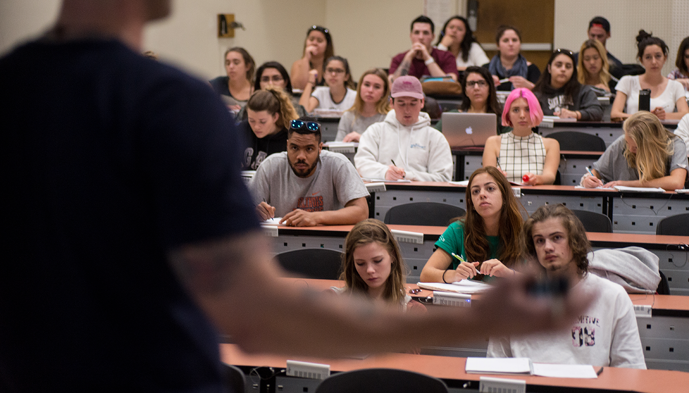 SBCC students in a classroom at Santa Barbara City College's main campus.